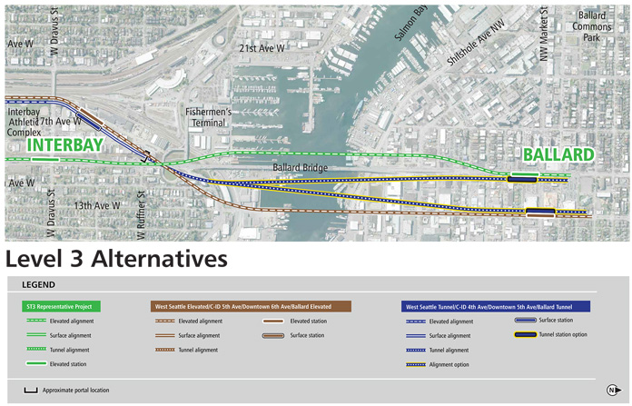 A map of three Link light rail lines from Interbay to Ballard including multiple Salmon bay crossing options both north and south of the Ballard bridge, both tunneled and elevated, ending on fourteenth and fifteenth avenue northwest.