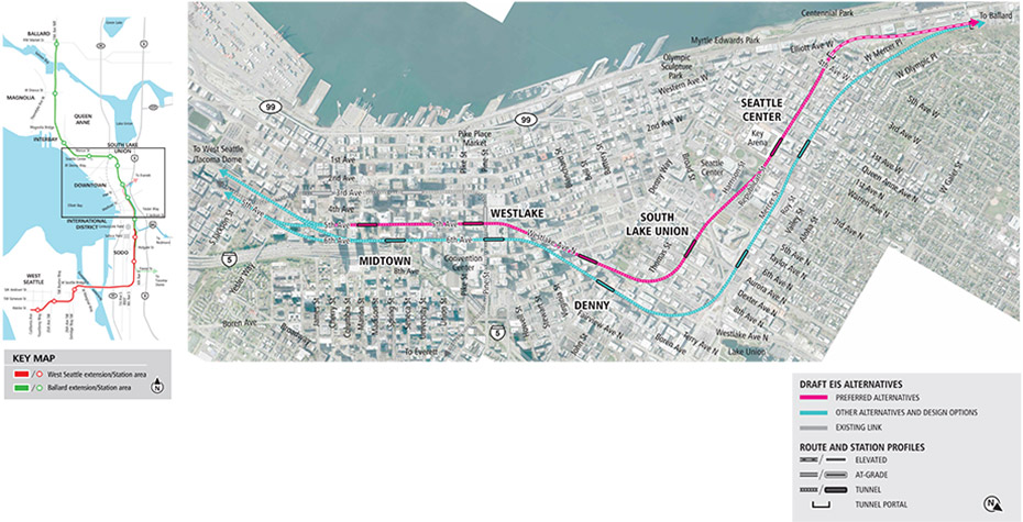 Map of Seattle Center, South Lake Union, Denny, Westlake and Midtown stations in Seattle showing pink line for preferred alternatives, and blue lines for other Draft EIS alternatives. See text description below for additional details. Click to enlarge (PDF)