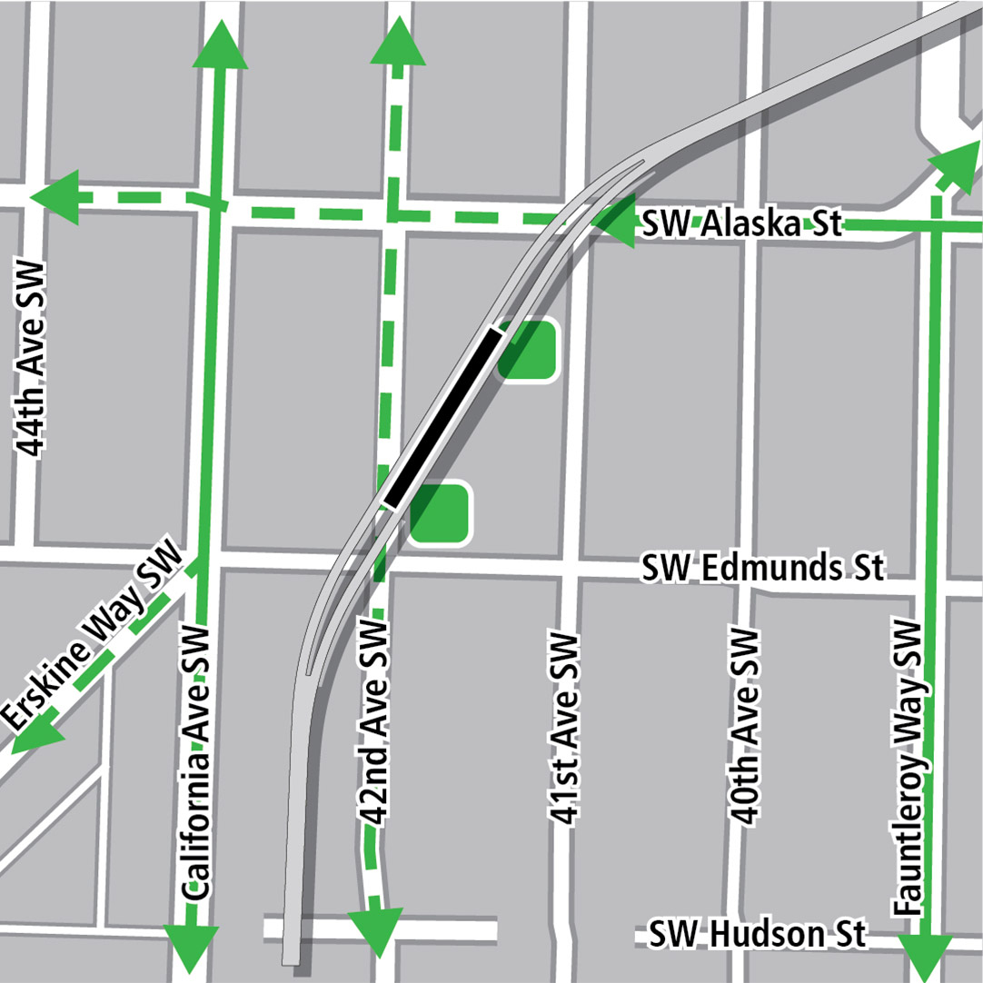 Map with black rectangle indicating station location oriented diagonally between 42nd Avenue Southwest and 41st Avenue Southwest, green lines indicating existing bike routes, dashed green lines for planned bike routes and green squares indicating bike storage areas.