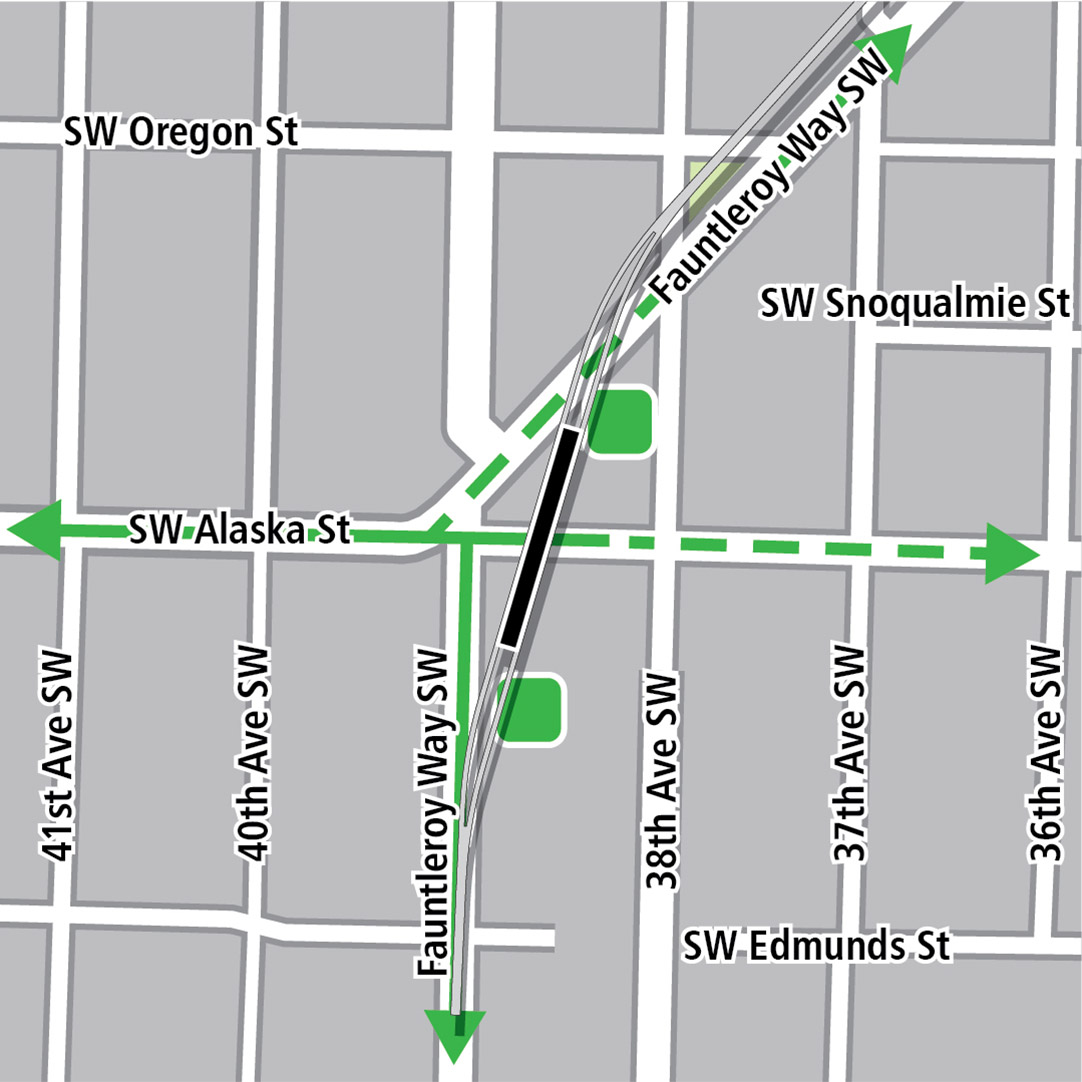 Map with black rectangle indicating station location on Fauntleroy Way Southwest, green lines indicating existing bike routes, dashed green lines for planned bike routes and a green square indicating a bike storage area.