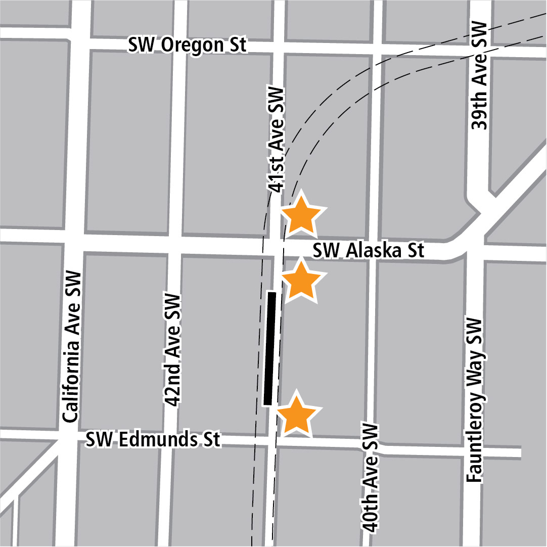 Map with black rectangle indicating station location on 41st Avenue Southwest and yellow stars indicating three station entry areas.
