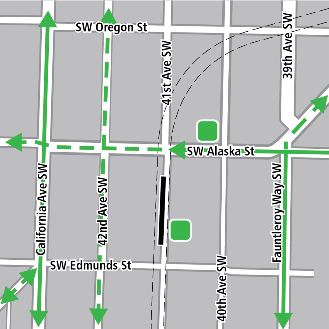 Map with black rectangle indicating station location on 41st Avenue Southwest, green lines indicating existing bike routes, dashed green lines for planned bike routes and green squares indicating bike storage areas.