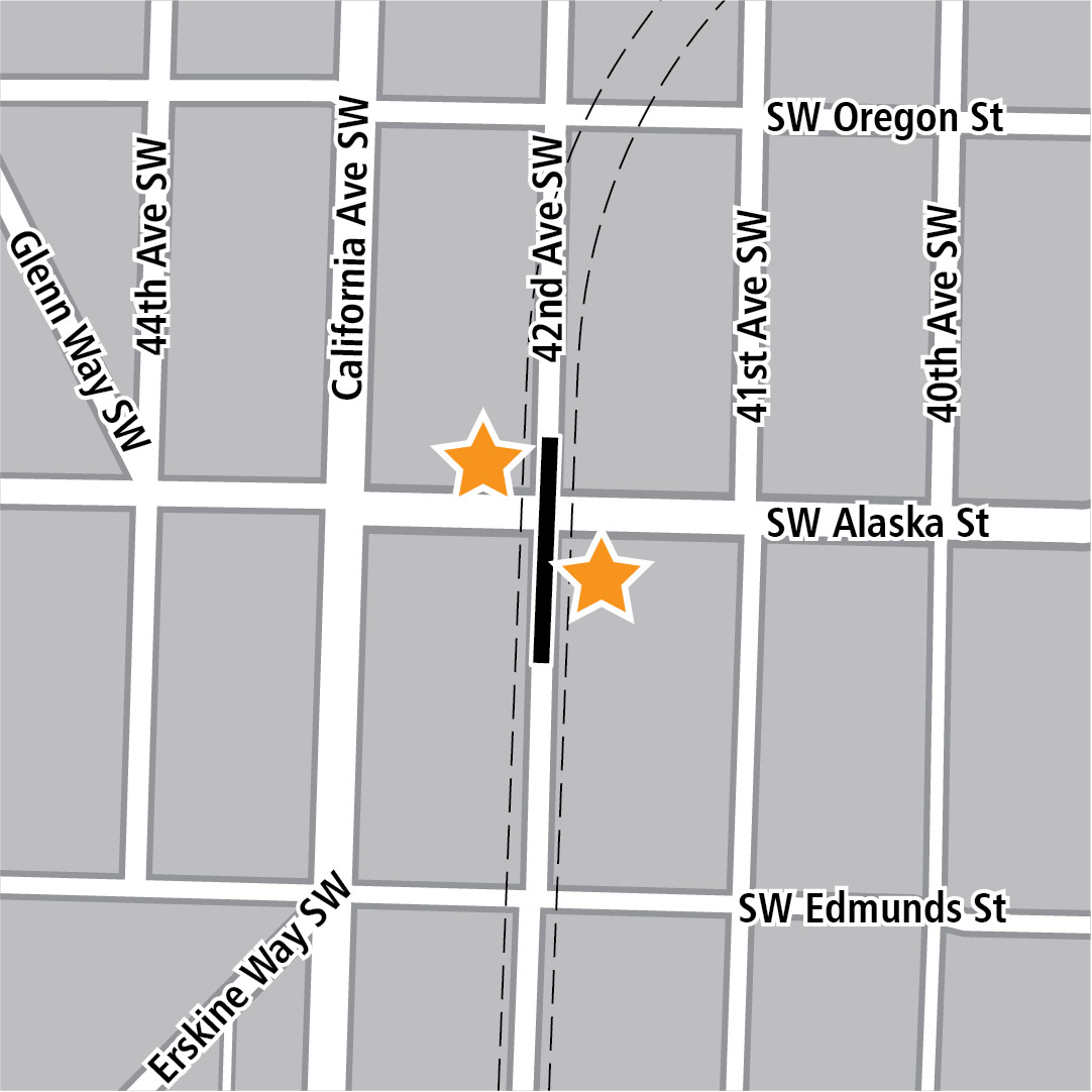 Map with black rectangle indicating station location on 42nd Avenue Southwest and yellow stars indicating two station entry areas.