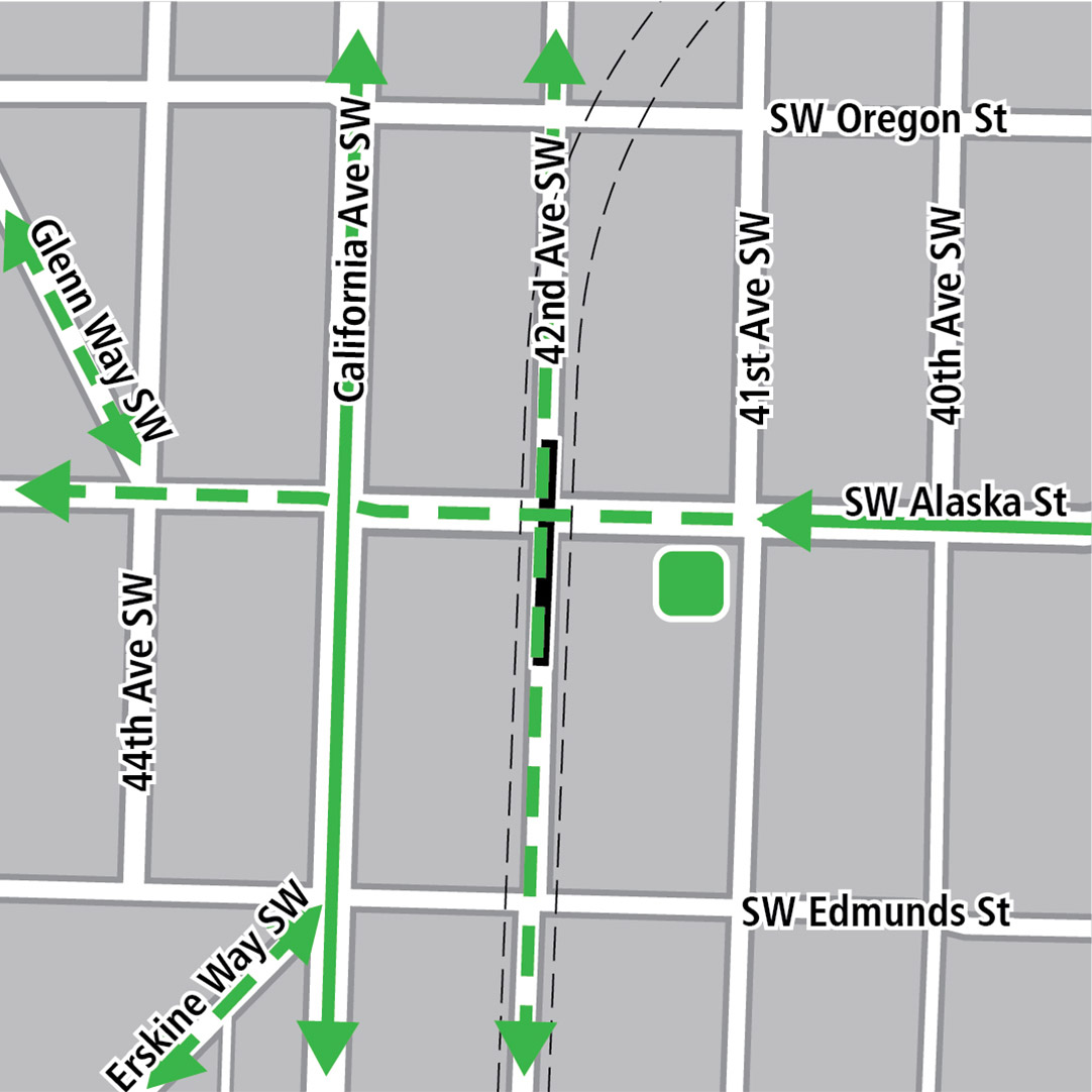 Map with black rectangle indicating station location on 42nd Avenue Southwest, green lines indicating existing bike routes, dashed green lines for planned bike routes and a green square indicating a bike storage area.