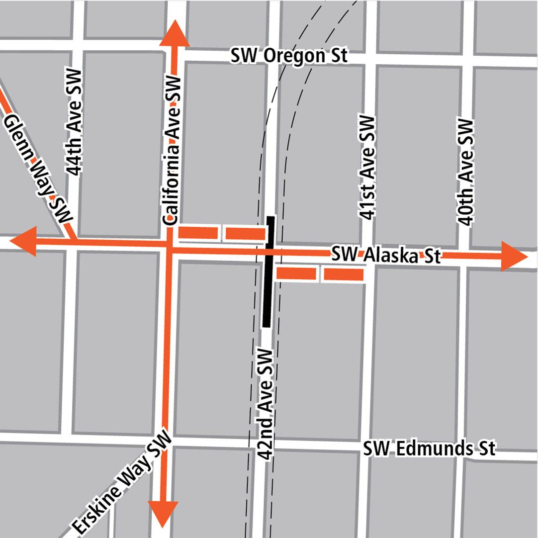 地圖上黑色長方形表示42nd Avenue Southwest上的車站位置,橙色長方形表示公車站,而橙色線條表示California Avenue Southwest、Southwest Alaska Street和Glenn Way Southwest的公車路線。