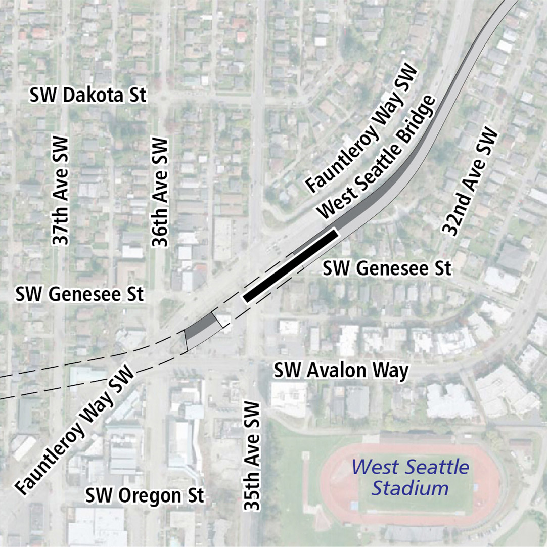 Map with black rectangle indicating station location on Fauntleroy Way Southwest. A map label shows West Seattle Stadium nearby.