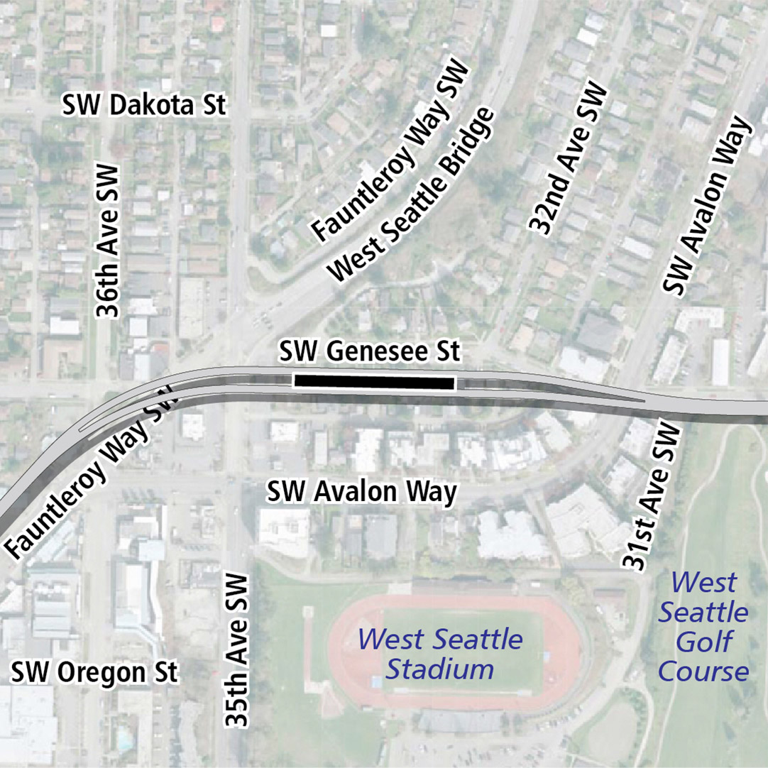 Map with black rectangle indicating station location on Southwest Genesee Street. Map labels show West Seattle Stadium and West Seattle Golf Course nearby.