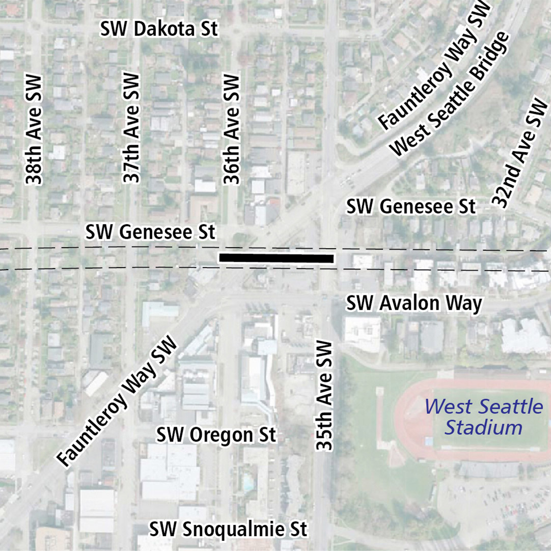 Map with black rectangle indicating station location on Southwest Genesee Street between Fauntleroy Way Southwest and 35th Avenue Southwest. A map label shows West Seattle Stadium nearby.