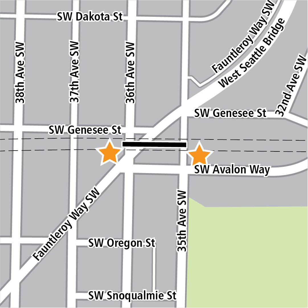Map with black rectangle indicating station location on Southwest Genesee Street between Fauntleroy Way Southwest and 35th Avenue Southwest and yellow stars indicating two station entry areas.
