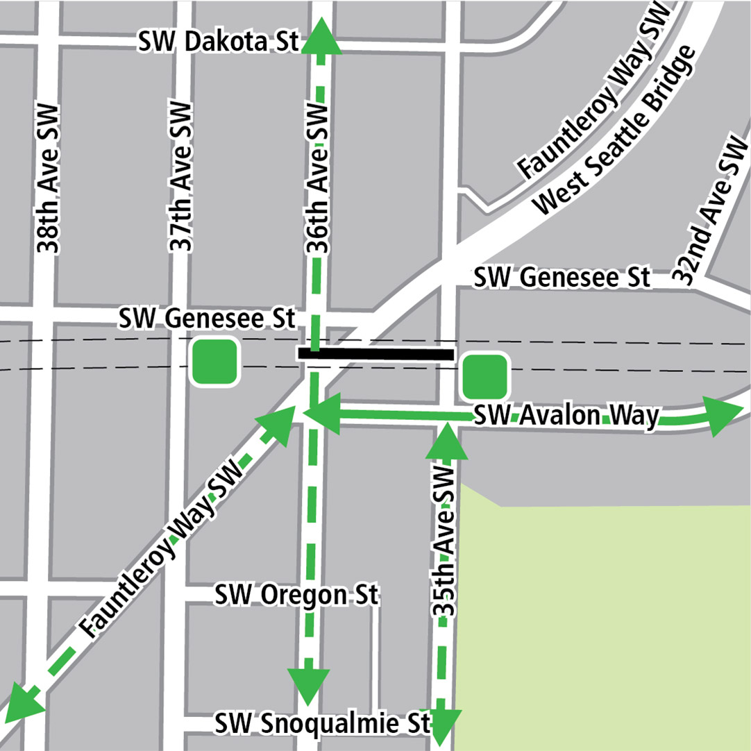 Map with black rectangle indicating station location on Southwest Genesee Street between Fauntleroy Way Southwest and 35th Avenue Southwest, green lines indicating existing bike routes, dashed green lines for planned bike routes and green squares indicating bike storage areas.