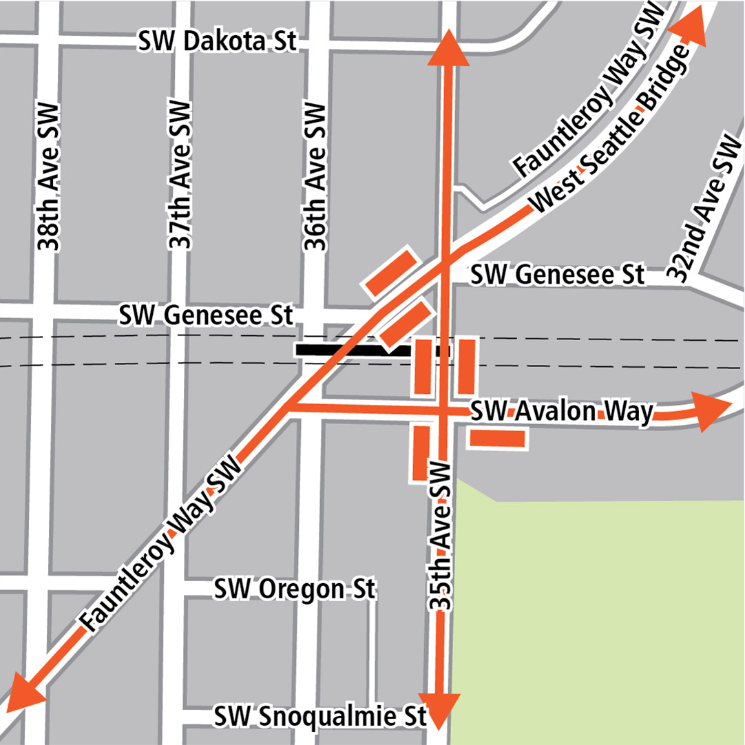 Map with black rectangle indicating station location on Southwest Genesee Street between Fauntleroy Way Southwest and 35th Avenue Southwest, orange rectangles indicating bus stops and orange lines indicating bus routes