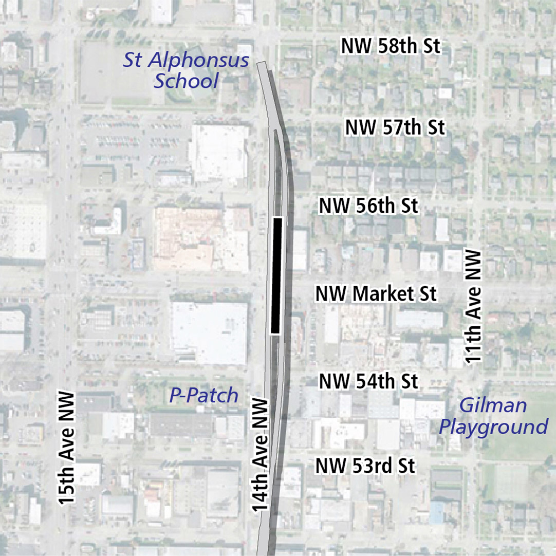 Map with black rectangle indicating station location on 14th Avenue Northwest. Map labels show Gilman Playground, Safeway, Target, Ballard Market, and St. Alphonsus School nearby.