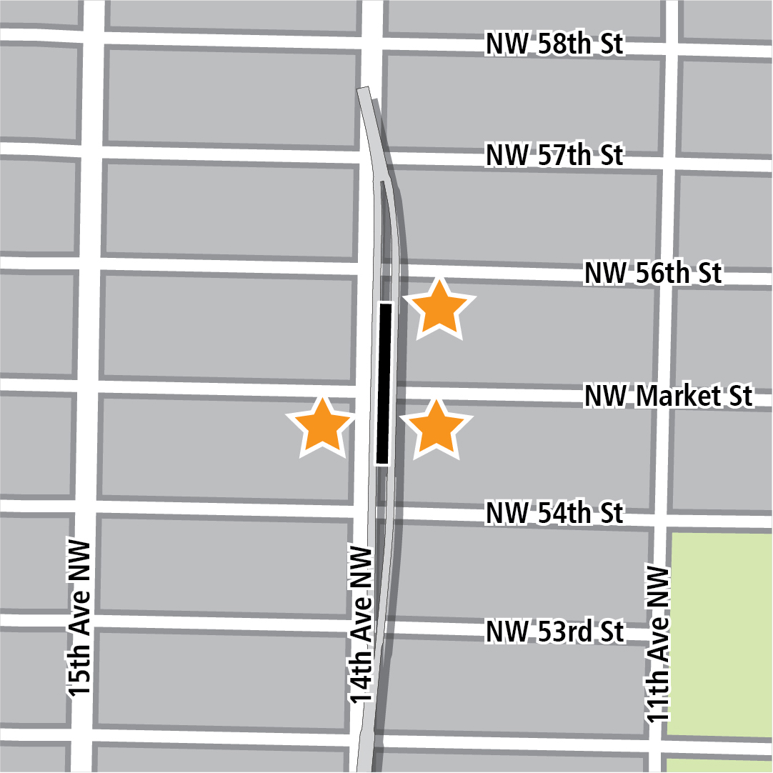 Map with black rectangle indicating station location on 14th Avenue Northwest and yellow stars indicating three station entry areas.