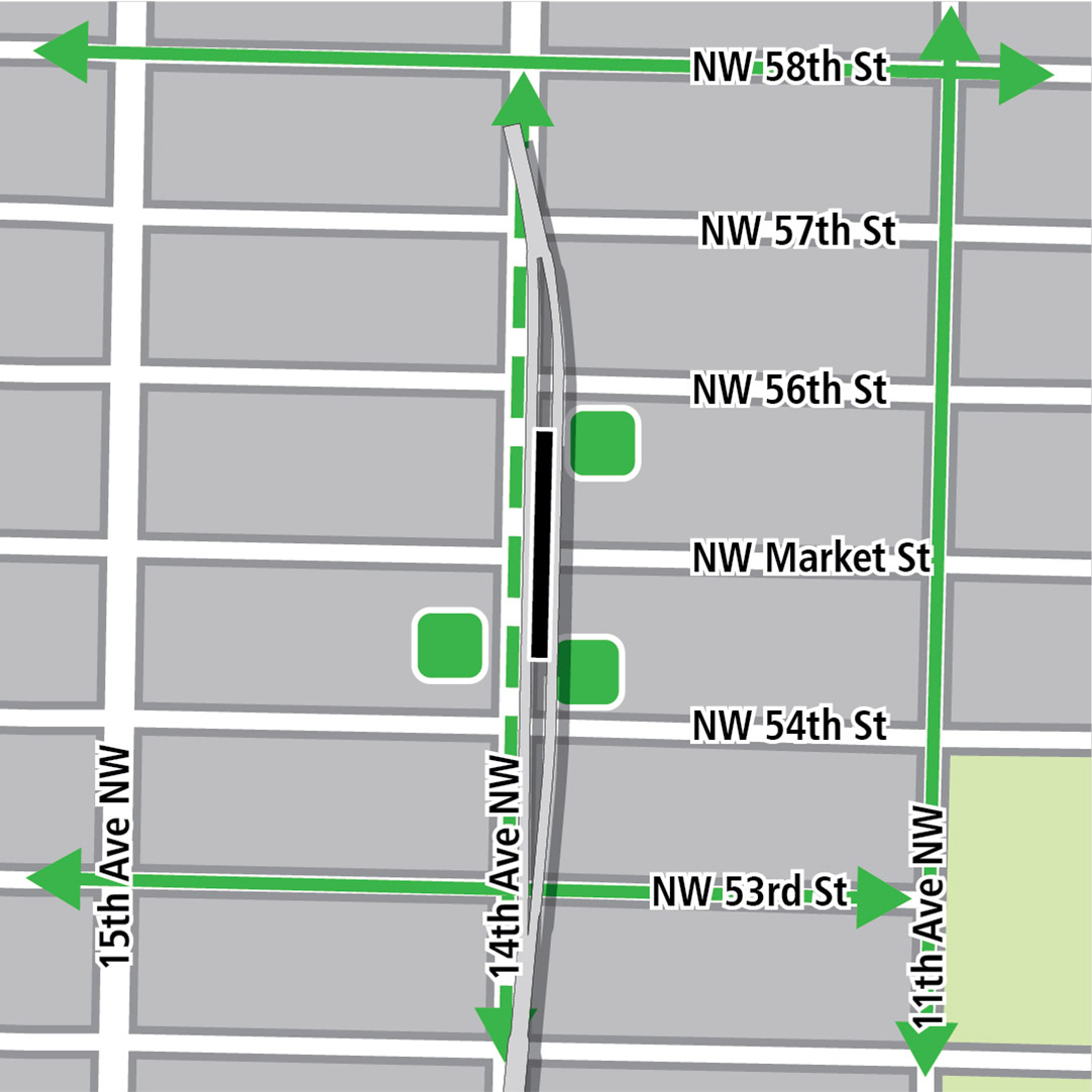 Map with black rectangle indicating station location on 14th Avenue Northwest, green lines indicating existing bike routes, dashed green lines for planned bike routes and green squares indicating bike storage areas.