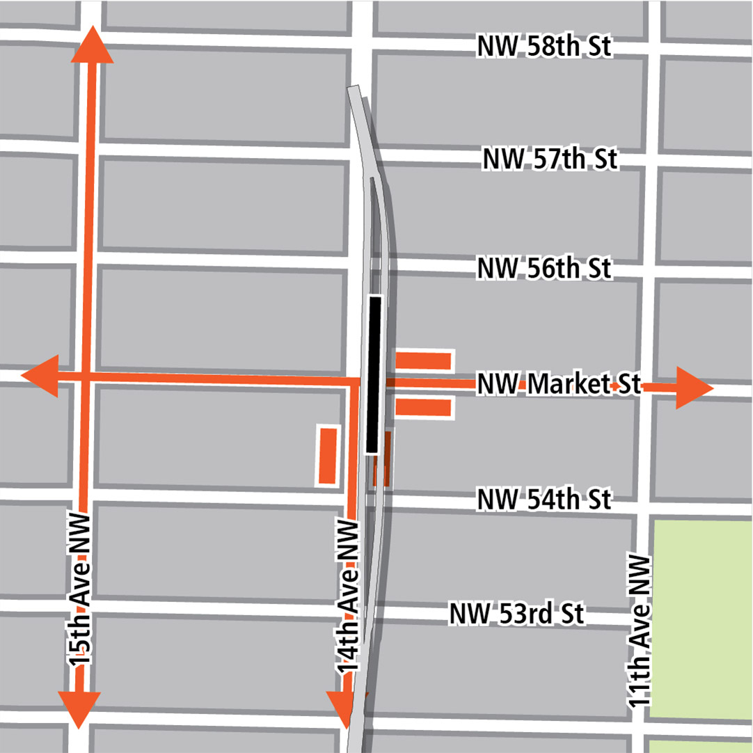 Map with black rectangle indicating station location on 14th Avenue Northwest, orange rectangles indicating bus stops, and orange lines indicating bus routes on 15th Avenue Northwest, 14th Avenue Northwest and Northwest Market Street.