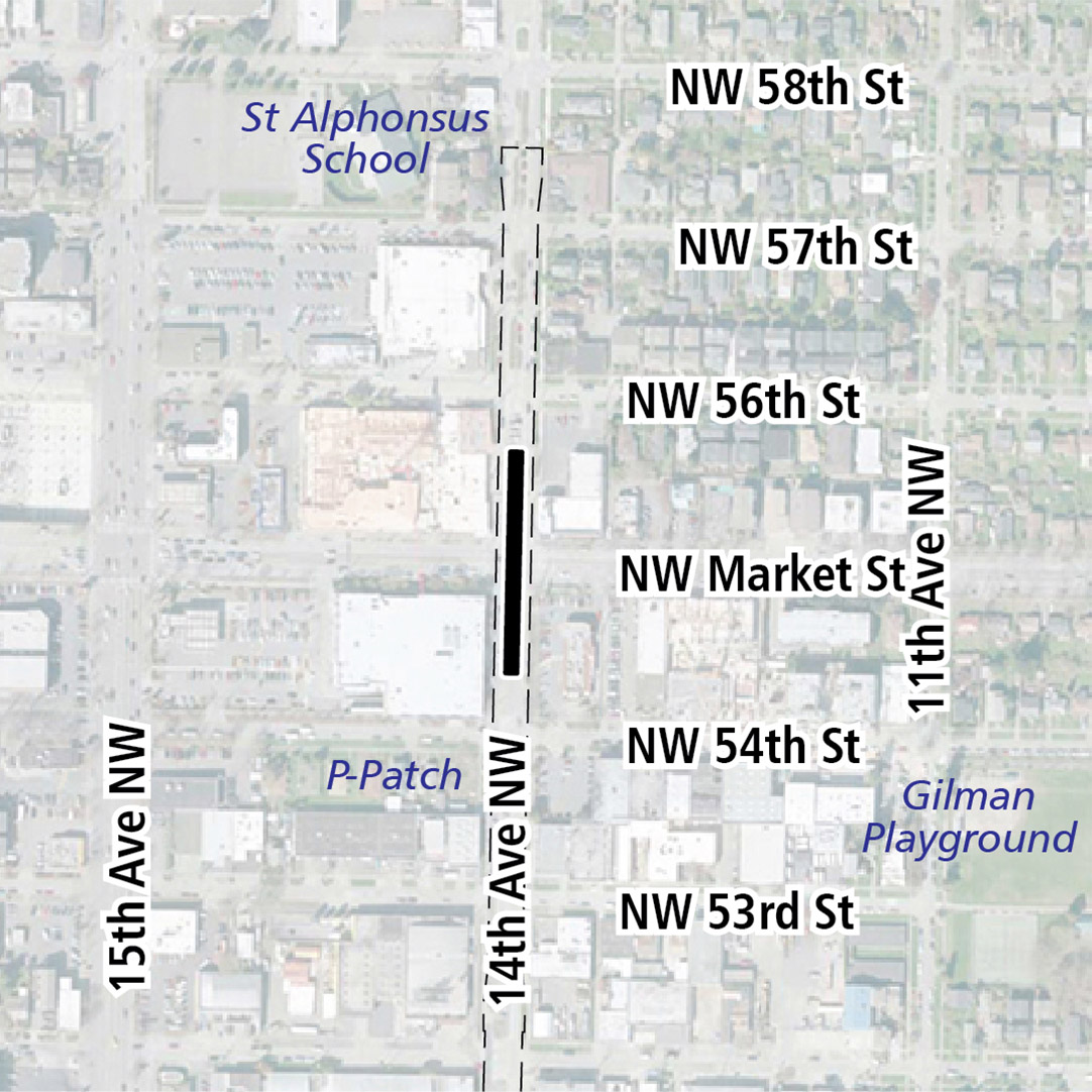 Map with black rectangle indicating station location on 14th Avenue Northwest. Map labels show Gilman Playground, Safeway, Target, Ballard Market and St. Alphonsus School nearby.