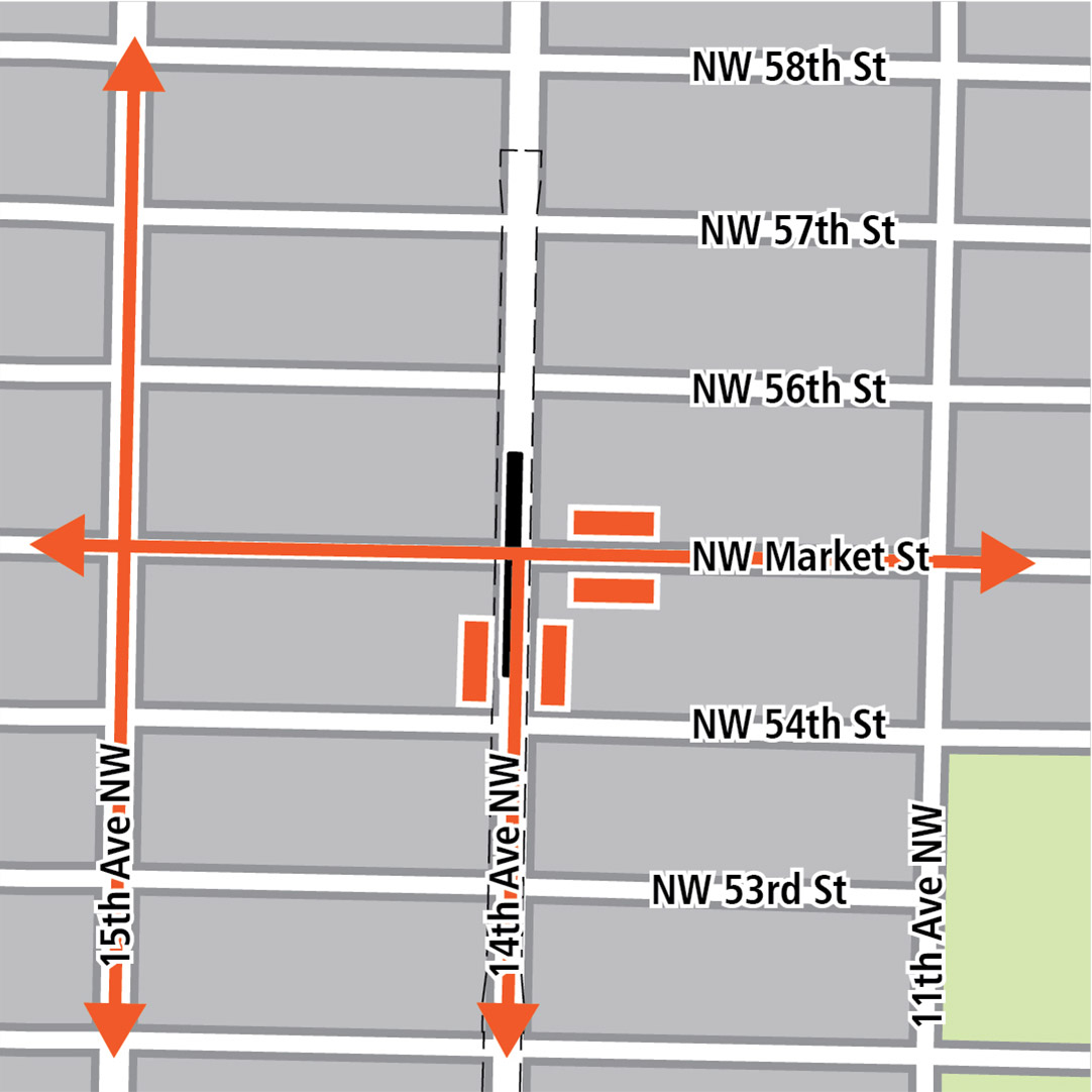 Map with black rectangle indicating station location on 14th Avenue Northwest, orange rectangles indicating bus stops and orange lines indicating bus routes on 15th Avenue Northwest, 14th Avenue Northwest and Northwest Market Street.