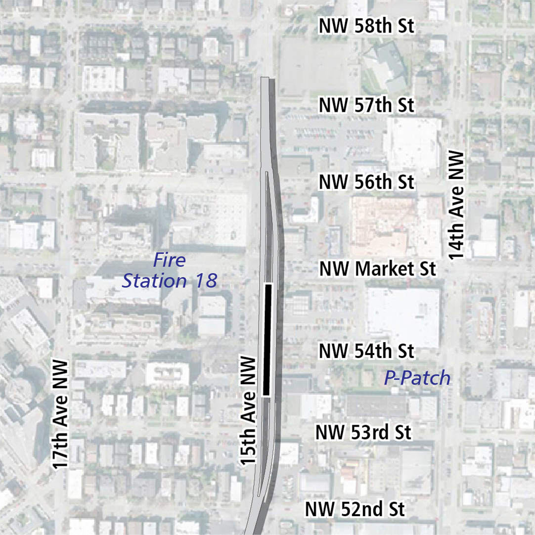Map with black rectangle indicating station location on 15th Avenue Northwest. Map label shows Fire Station 18 and P-Patch nearby.