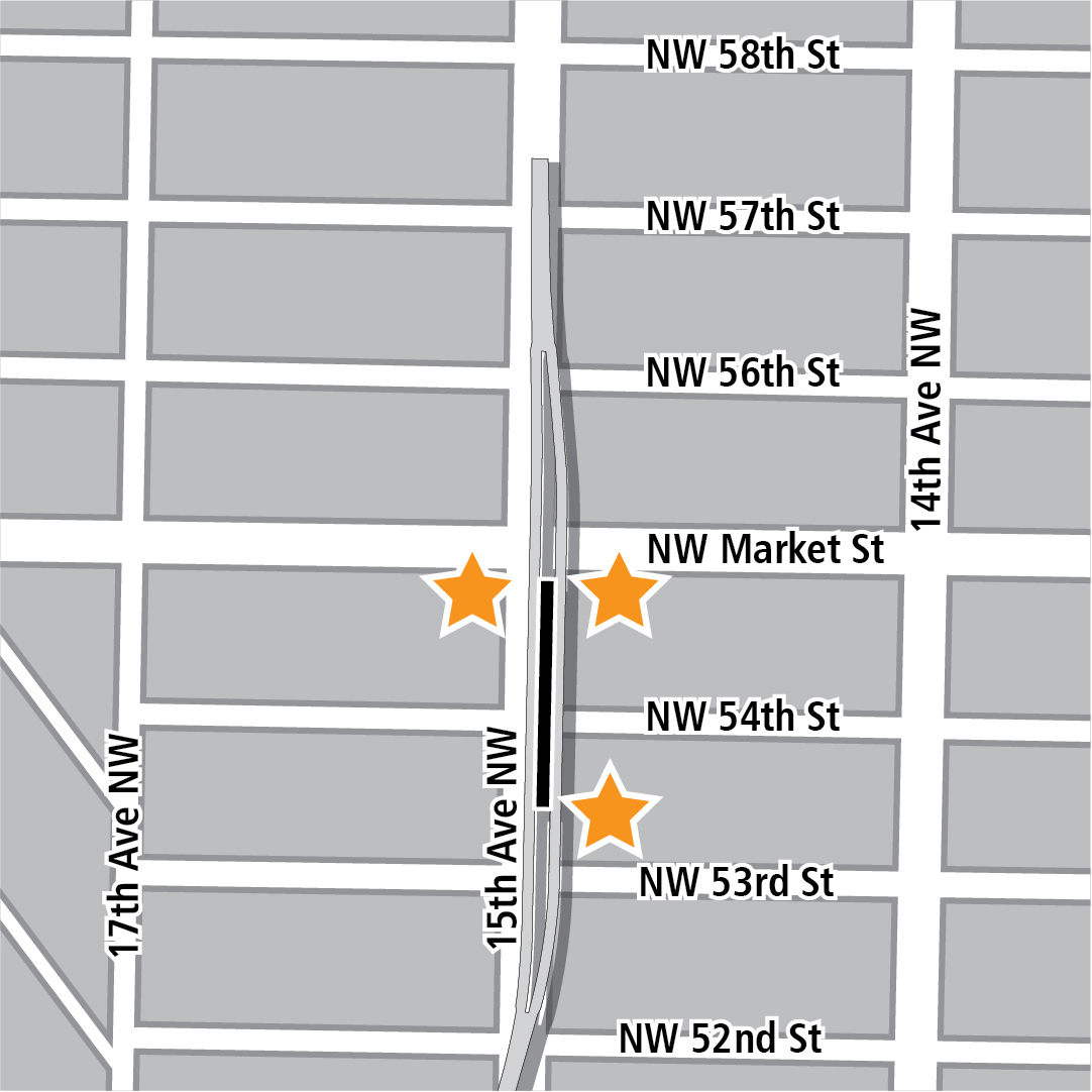 Map with black rectangle indicating station location on 15th Avenue Northwest and yellow stars indicating three station entry areas.