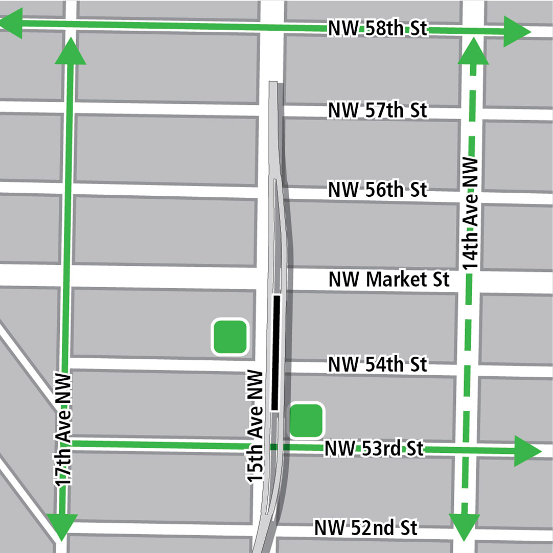 Map with black rectangle indicating station location on 15th Avenue Northwest, green lines indicating existing bike routes, dashed green lines for planned bike routes and green squares indicating bike storage areas.