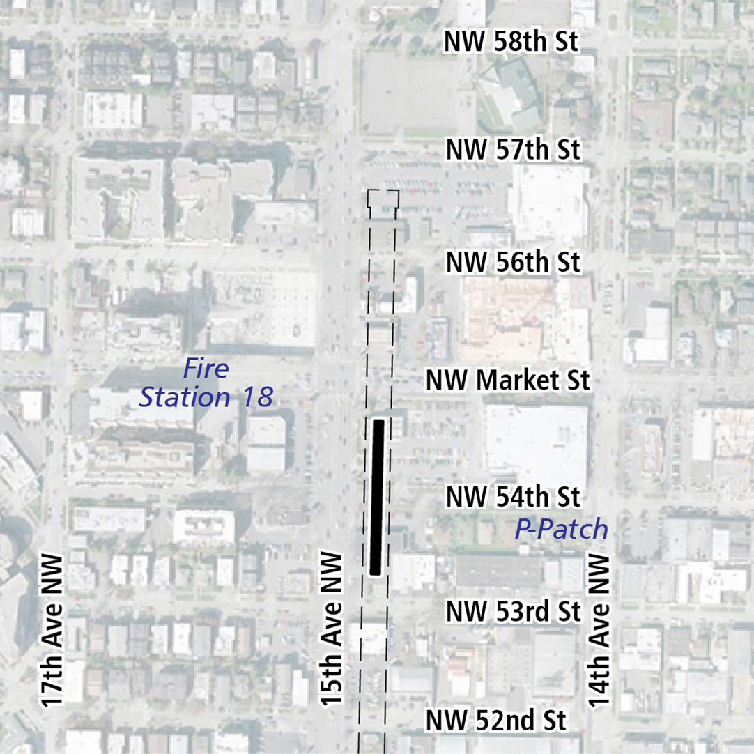 Map with black rectangle indicating station location on 15th Avenue Northwest. Map labels show Fire Station 18 and P-patch nearby.