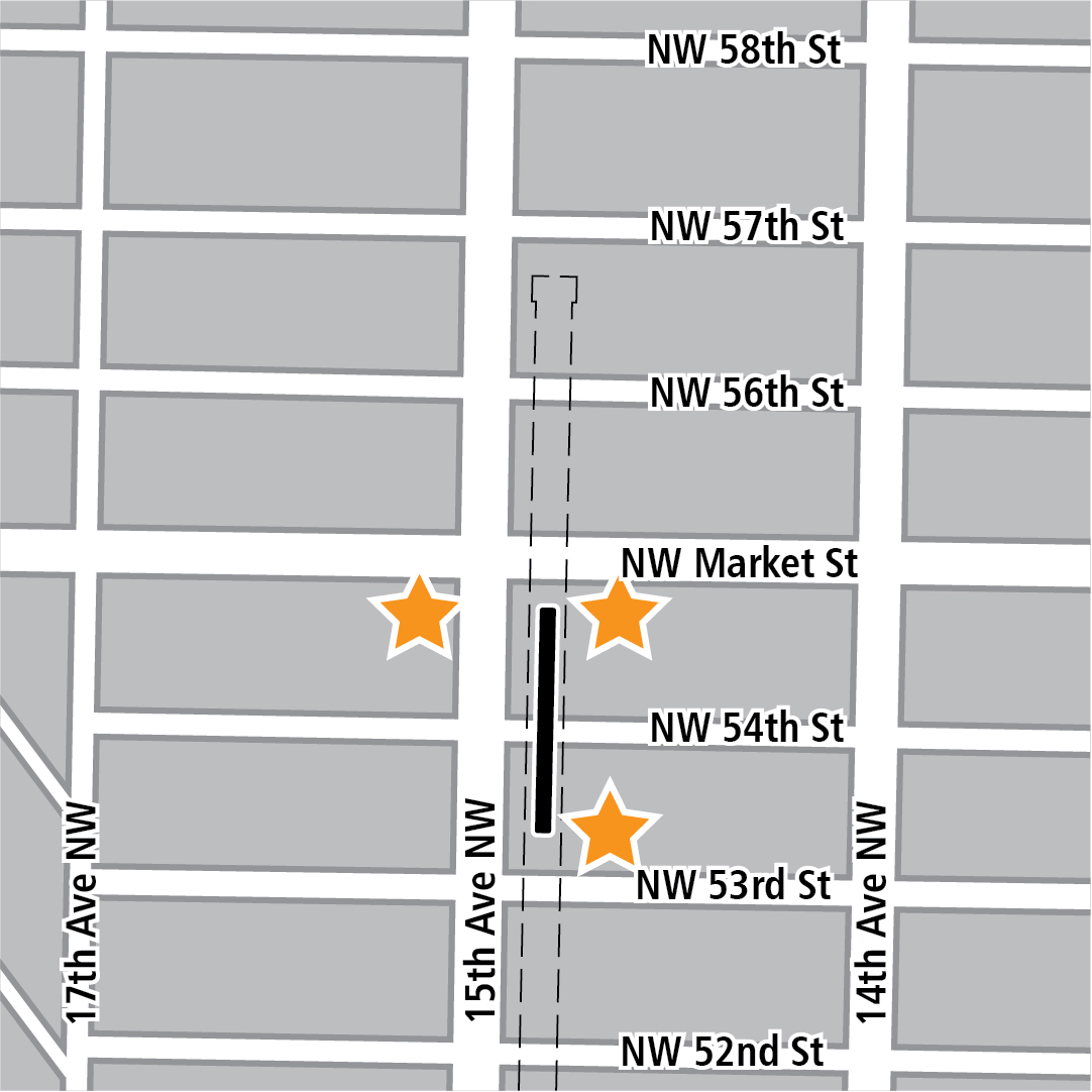 Map with black rectangle indicating station location on 15th Avenue Northwest and yellow stars indicating three station entry areas