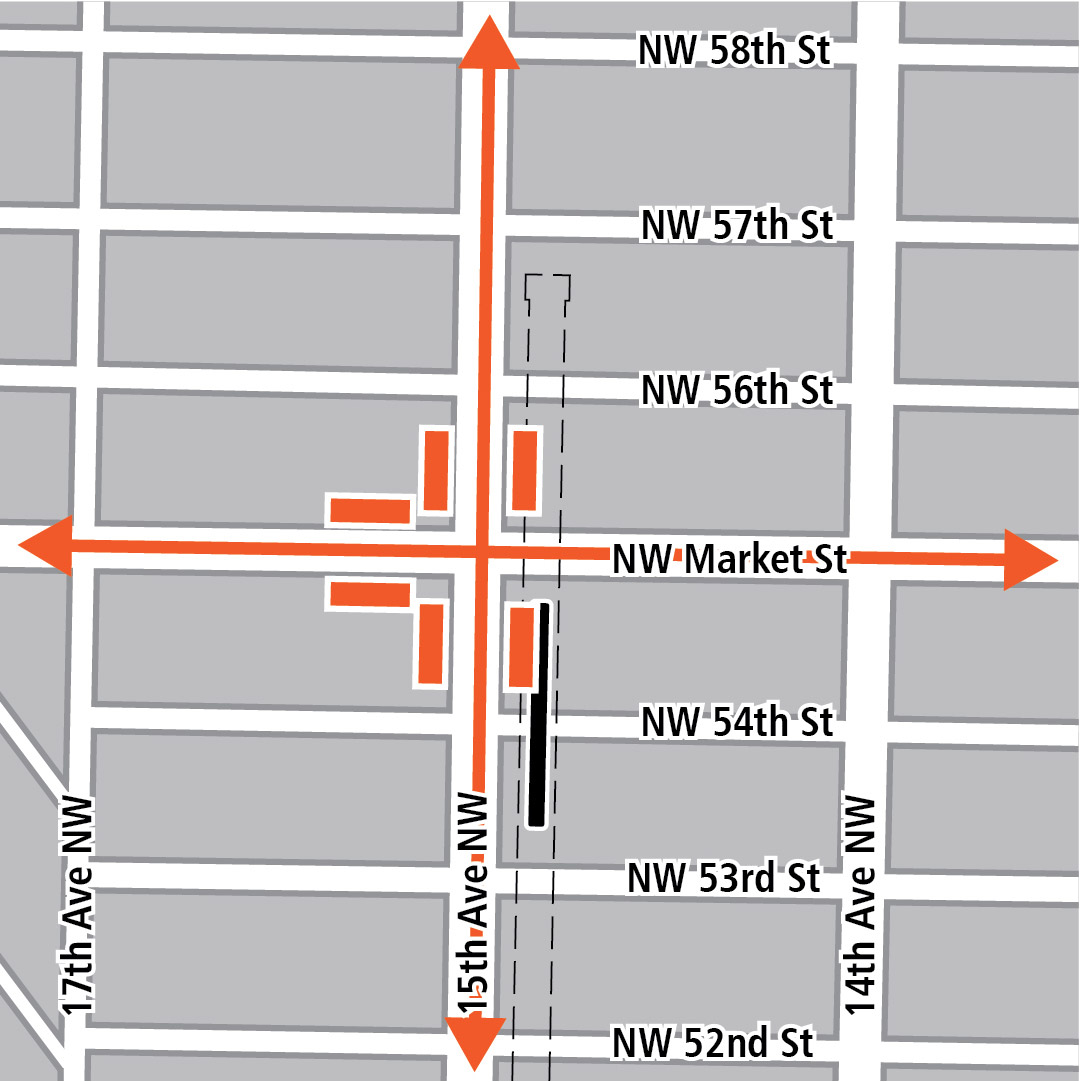Map with black rectangle indicating station location on 15th Avenue Northwest, orange rectangles indicating bus stops and orange lines indicating bus routes.