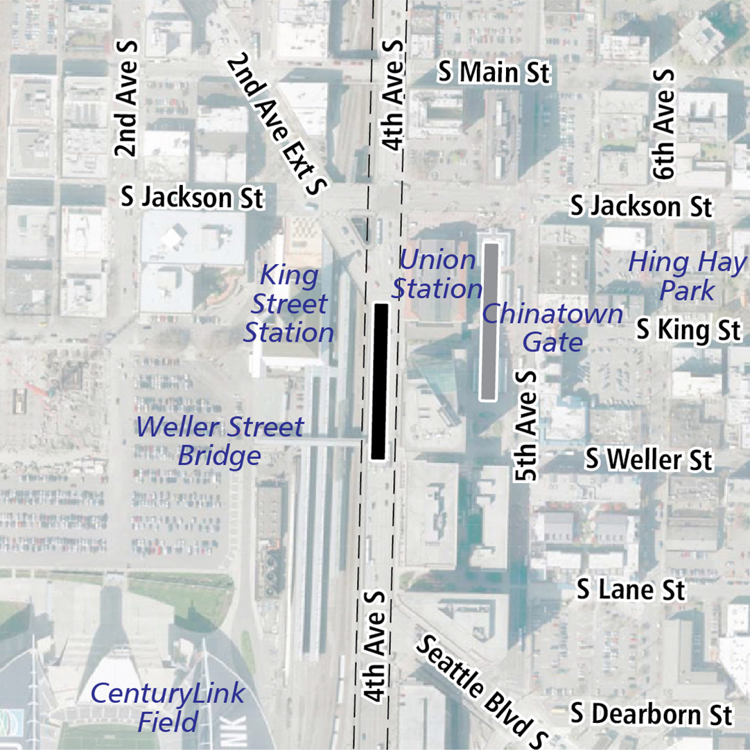 Map with black rectangle indicating station location on 4th Avenue South. Map labels show King Street Station, Union Station, Chinatown Gate, Hing Hay Park, the Weller Street Bridge and CenturyLink Field nearby.