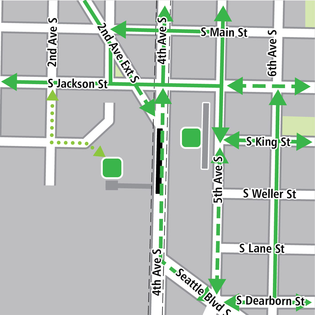 Map with black rectangle indicating station location on 4th Avenue and gray rectangle indicating existing LINK station location, green lines indicating existing bike routes, dashed green lines for potential bike routes and green squares indicating bike storage areas. Additional dotted green lines indicate planned bike connections from Second Avenue South to the new station.