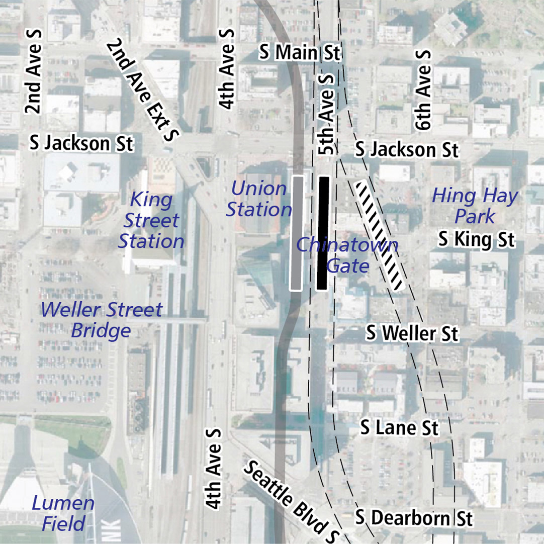 Map with black rectangle indicating station location on 5th Avenue South. Map labels show King Street Station, Union Station, Chinatown Gate, Hing Hay Park, the Weller Street Bridge and CenturyLink Field nearby.