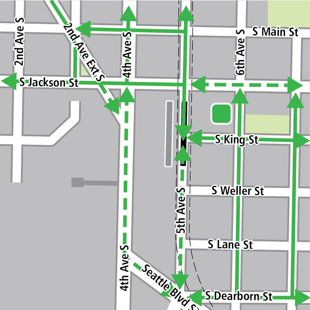 地图中黑色长方形表示位于5th Avenue的车站位置,灰色长方形表示现有的LINK车站位置,绿色实线表示现有的自行车路线,绿色虚线表示已规划的自行车路线,而绿色方块则表示自行车停放区。