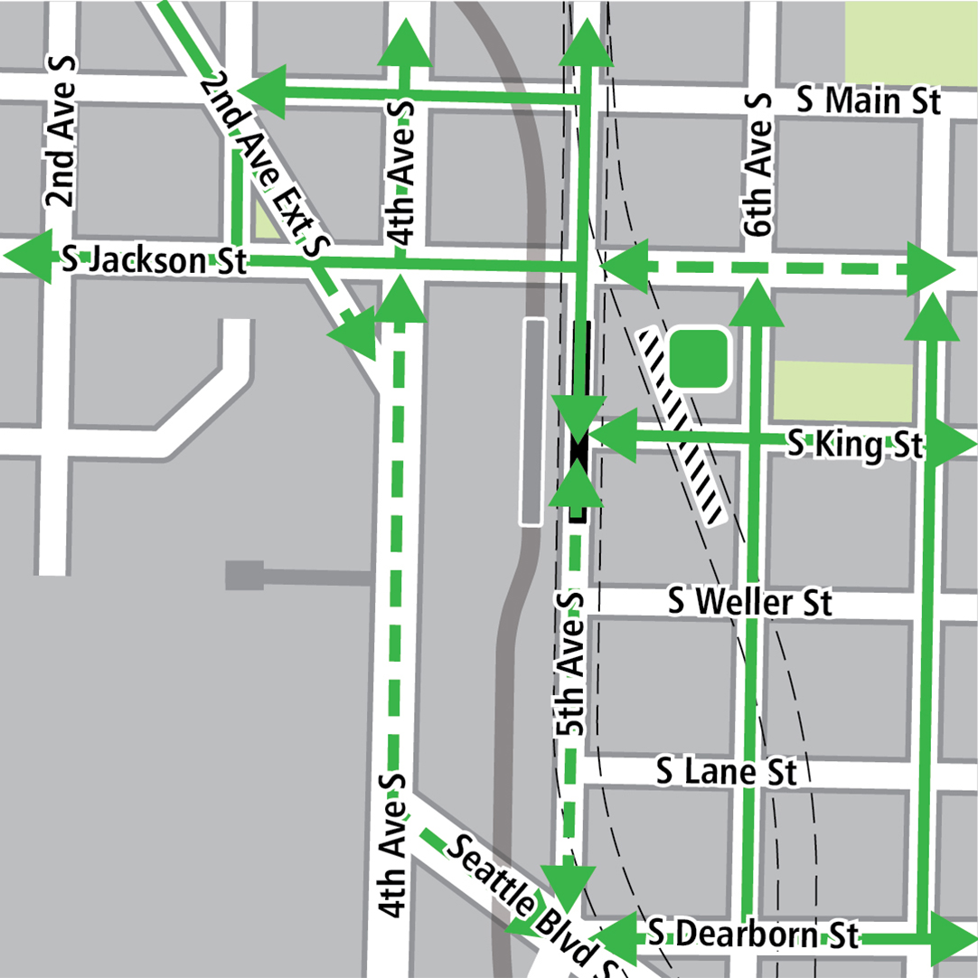 Map with black rectangle indicating station location on 5th Avenue and gray rectangle indicating existing LINK station location, green lines indicating existing bike routes, dashed green lines for planned bike routes and a green square indicating a bike storage area.