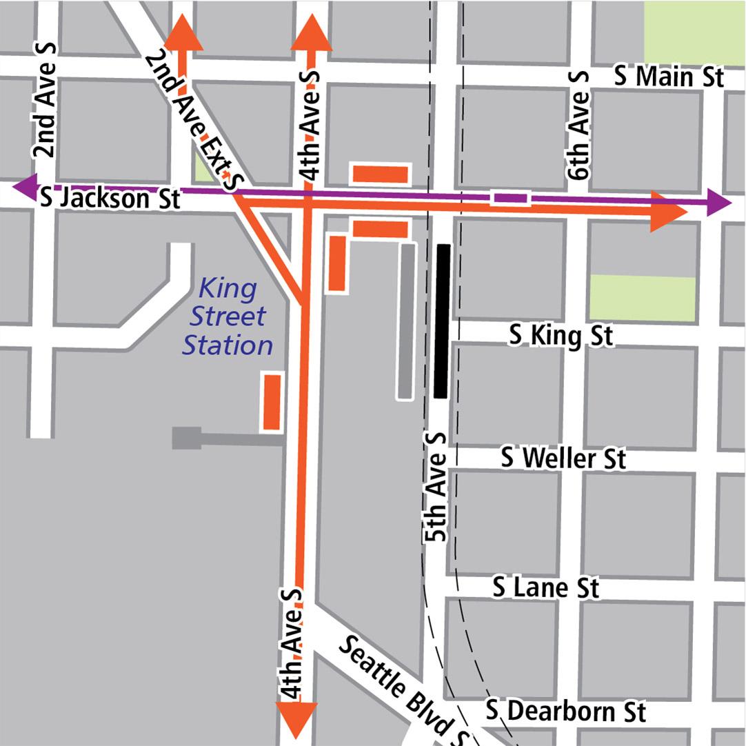 地图中黑色长方形表示位于5th Avenue South上的车站位置,灰色长方形表示现有的LINK车站位置,橘色长方形表示公车站,而橘色线条表示公交车路线。紫色长方形表示有轨电车车站,而紫色线条表示有轨电车路线。