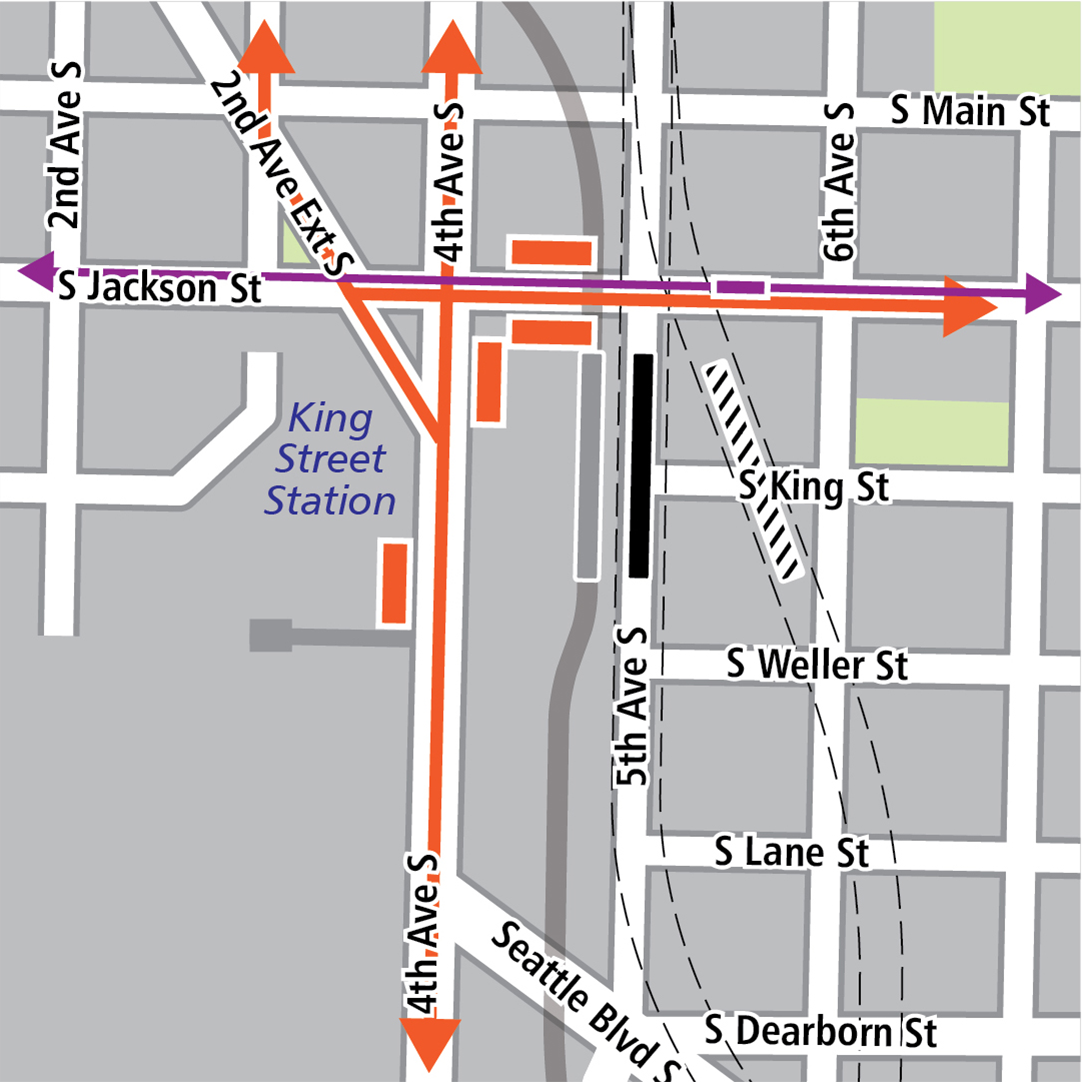 Map with black rectangle indicating station location on 5th Avenue South, gray rectangle indicating existing LINK station location, orange rectangles indicating bus stops and orange lines indicating bus routes. Purple rectangles indicate streetcar stops and purple lines indicate streetcar routes.