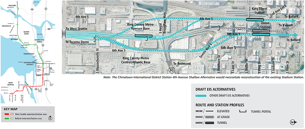 Map of Chinatown-International District station in Seattle with blue lines for other Draft EIS alternatives. Lines indicate tunnel alternatives. See text description below for additional details. Click to enlarge (PDF)