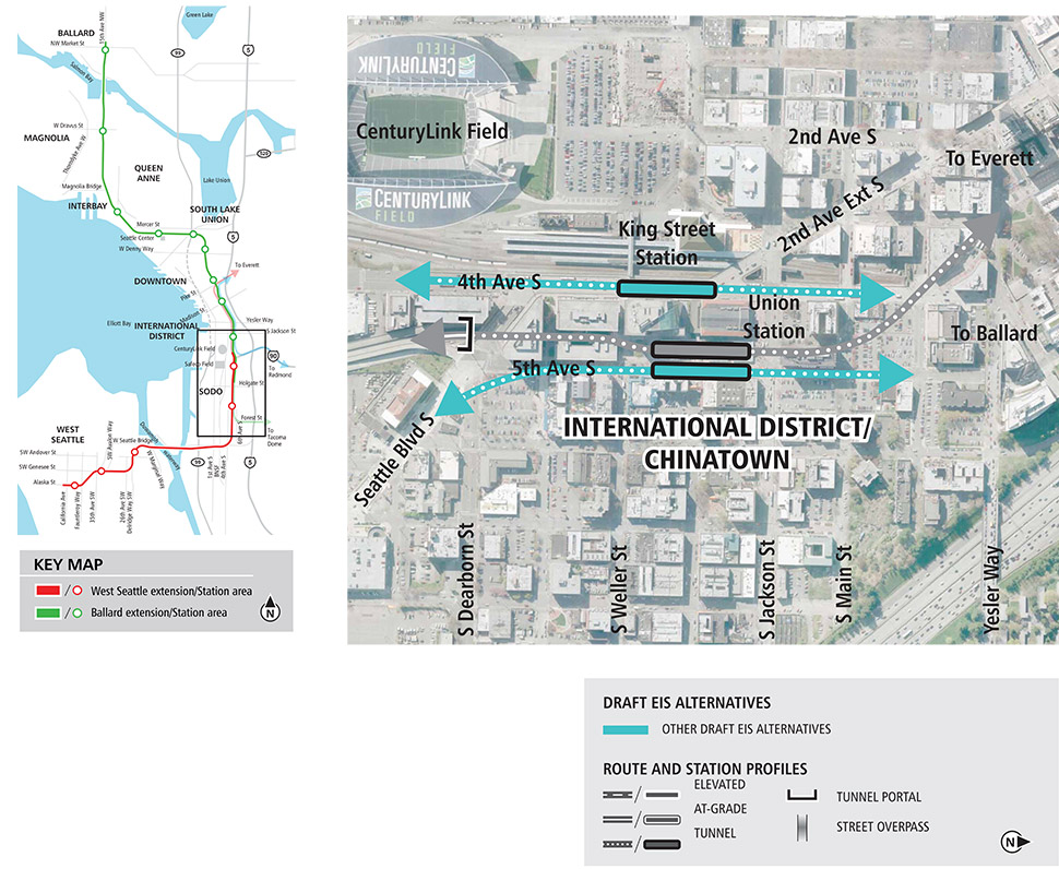 Map of the Chinatown International District station. Map includes alternatives to study during environmental review.