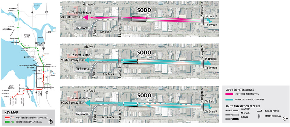 Map of SODO Seattle showing pink line for preferred alternatives and blue lines for other Draft EIS alternatives. Lines indicate elevated, and at-grade alternatives. See text description below for additional details. Click to enlarge (PDF)