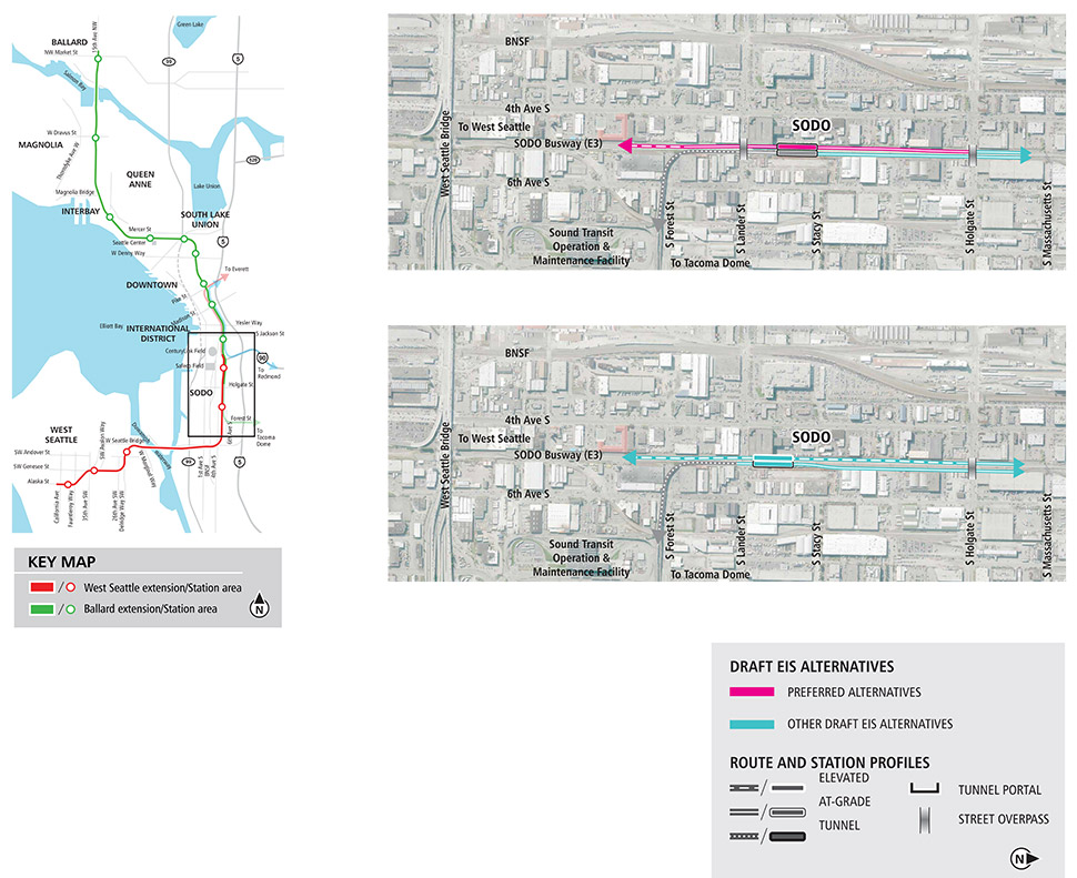 Map of the SODO station. Map includes preferred alternatives and other draft environmental impact statement alternatives to study during environmental review.