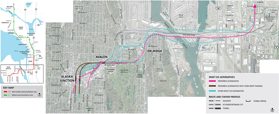 Map of Delridge, Avalon and Alaska Junction stations in southwest Seattle showing pink lines for preferred alternatives, brown lines for preferred alternatives with third party funding, and blue lines for other Draft EIS alternatives. Lines indicate elevated, at-grade and tunnel alternatives. See text description below for additional details Click to enlarge (PDF).