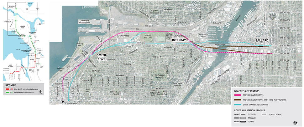 Map of the Ballard segment, including stations at Ballard, Interbay and Smith Cove. Map includes preferred alternatives, preferred alternatives with third party funding and other draft environmental impact statement alternatives to study during environmental review.