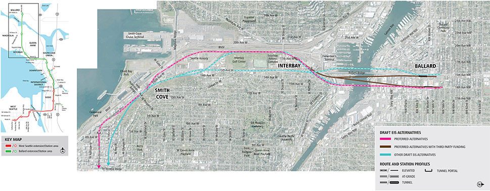 Map of Ballard, Interbay and Smith Cove stations in northwest Seattle showing pink line for preferred alternatives, brown lines for preferred alternatives with third party funding, and blue lines for other Draft EIS alternatives. Lines indicate elevated, at-grade and tunnel alternatives. See text description below for additional details. Click to enlarge (PDF)