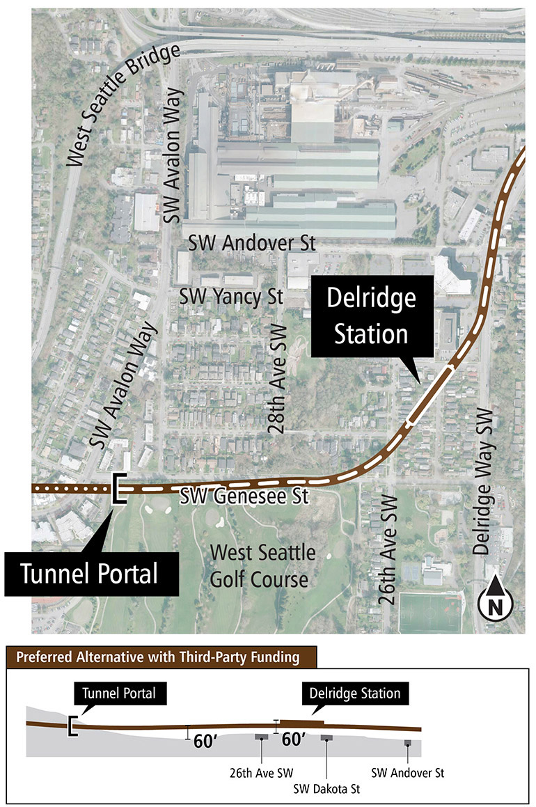 Map and profile of Dakota Street Station Lower Height Alternative in the Delridge segment showing proposed route and elevation profile. See text description above for additional details. Click to enlarge (PDF)