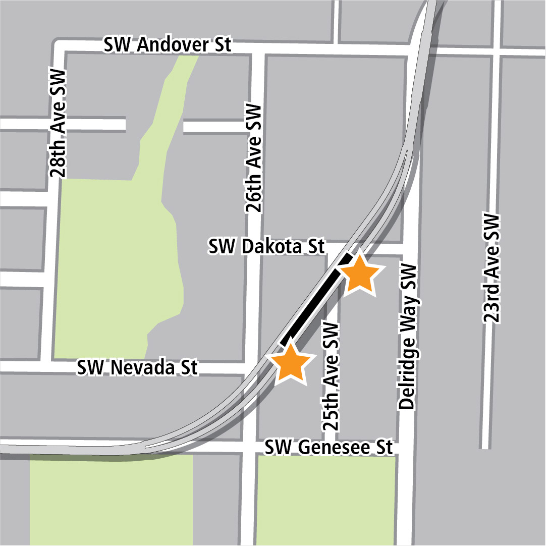 Map with black rectangle indicating station location on a diagonal between Southwest Dakota Street and Southwest Genesee Street and yellow stars indicating two station entry areas.