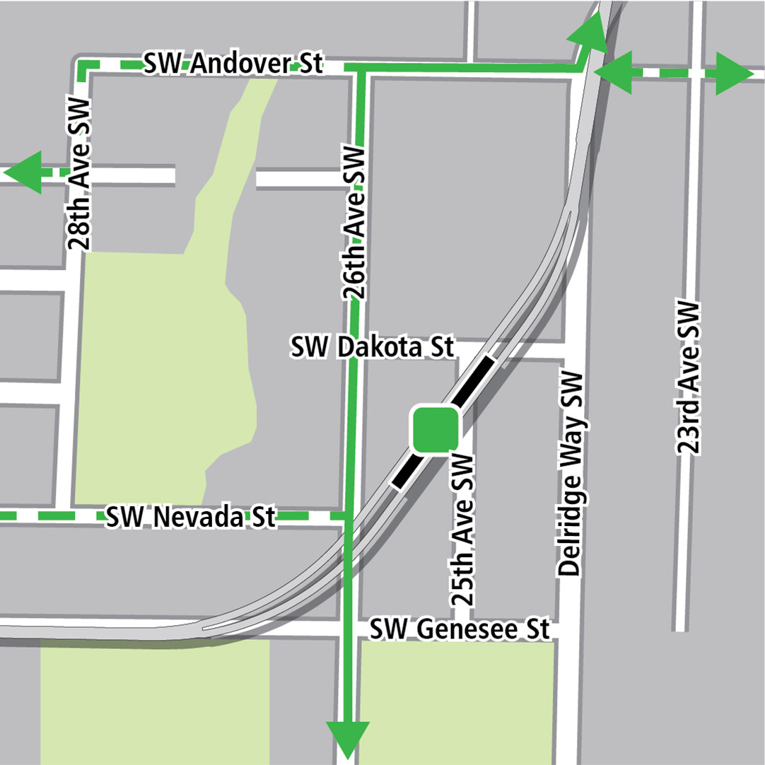 Map with black rectangle indicating station location on a diagonal between Southwest Dakota Street and Southwest Genesee Street, green lines indicating existing bike routes, dashed green lines for planned bike routes and a green square indicating a bike storage area.