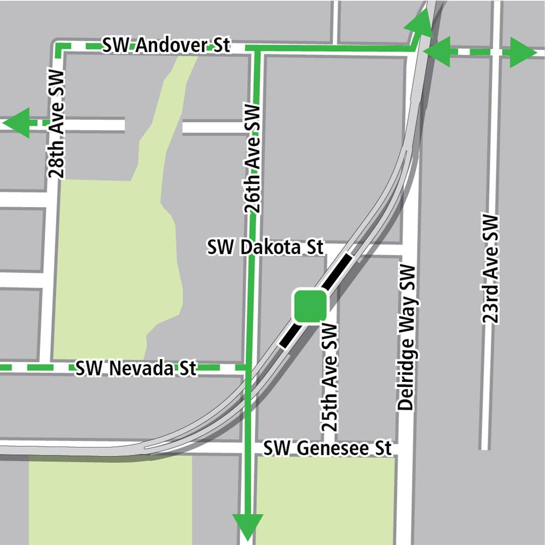 地圖中黑色長方形表示位於Southwest Dakota Street和Southwest Genesee Street之間對角線方向上的車站位置,綠色實線表示現有的自行車路線,綠色虛線表示已規劃的自行車路線,而綠色方塊則表示自行車停放區。