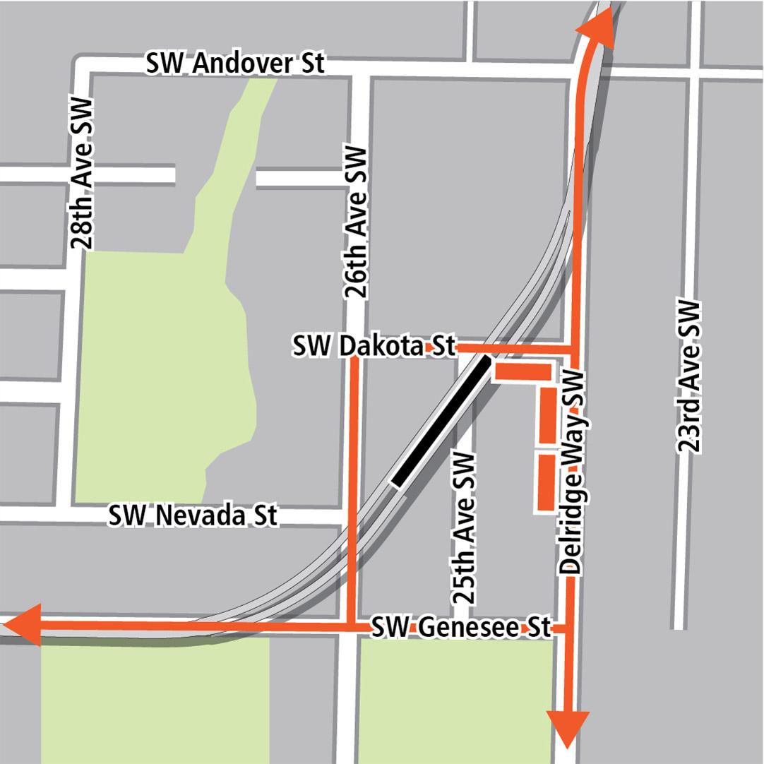 Map with black rectangle indicating station location on a diagonal between Southwest Dakota Street and Southwest Genesee Street, orange rectangles indicating bus stops and orange lines indicating bus routes on Southwest Genesee Street and Delridge Way Southwest.
