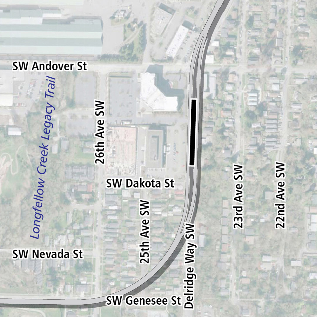 Map with black rectangle indicating station location on Delridge Way Southwest. Map labels show Longfellow Creek Legacy Trail nearby.