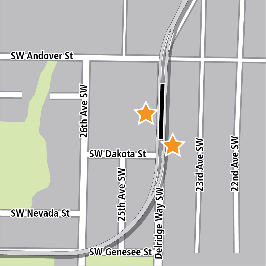 Map with black rectangle indicating station location on Delridge Way Southwest and yellow stars indicating two station entry areas.