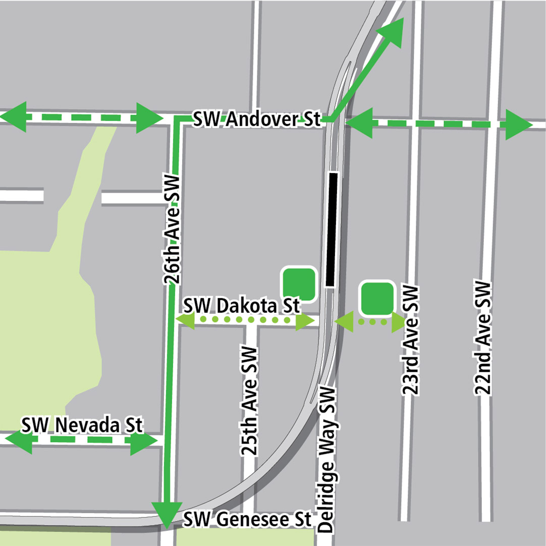 Map with black rectangle indicating station location on Delridge Way Southwest, green lines indicating existing bike routes, dashed green lines for planned bike routes and green squares indicating bike storage areas. Additional dotted green lines indicate potential bike connections on Southwest Dakota Street from 26th Avenue Southwest to 23rd Avenue Southwest.