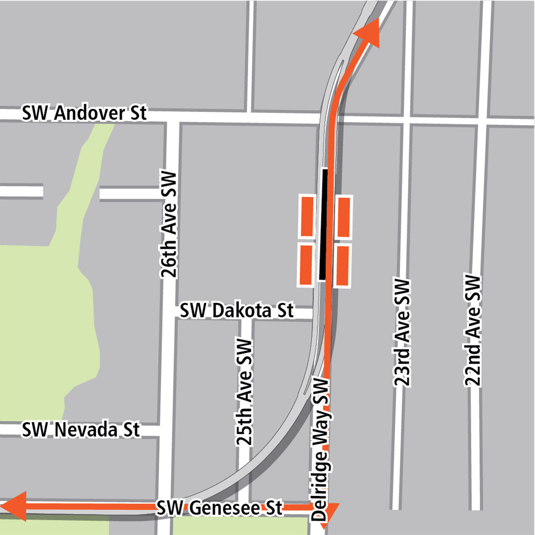 地圖上黑色長方形表示位於Delridge Way Southwest的車站位置,橙色長方形表示公車站,而橙色線條則表示Delridge Way Southwest和Southwest Genesee Street的公車路線。